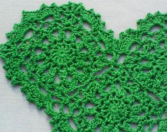 Crocheted Green Heart Doily