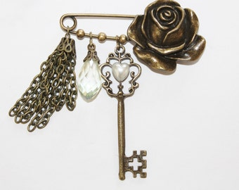 brooch, kilt pin, safety pin charm collection, charm collection brooch, safety pin charm collection, scarf pin