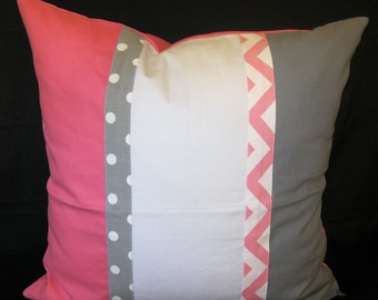 Pink gray canvas white center pillow cover 24 X 24