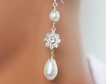 Pearl Drop Bridal Earrings, Rhinestone Bridal Jewelry, Bridesmaid Earrings, Wedding Jewelry, Bridesmaids Jewelry