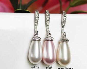 Wedding Pearl Drop Earrings, Pearl Bridal Earrings, Bridesmaids Pearl Earrings, Mother of the Bride