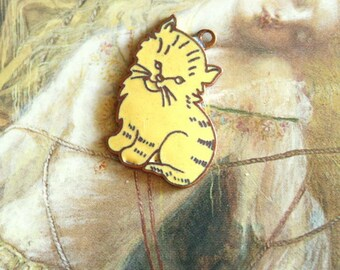 Awesome Old Yellow Enamel Kitty Charm
