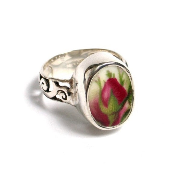 SZ 7 Broken China Jewelry - Old Country Roses - Sterling Silver Ring Size 7