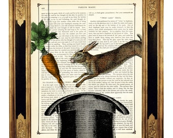 Rabbit Art Print Bunny Carrot Magic Top Hat Easter Bunny - Vintage Victorian Book Page Art Print Steampunk Dictionary Art