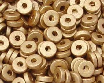 25 Metallic matte gold 8mm Washers Greek Ceramic Beads