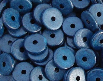25 Navy blue 13mm Washers Greek Ceramic Beads