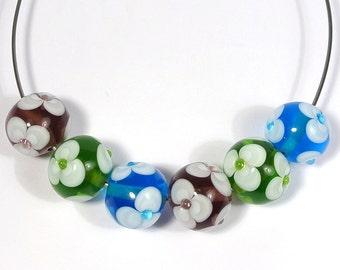 Violet, Blue and Green Floral Handmade Lampwork Bead Set