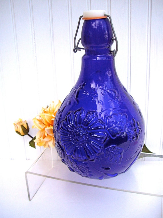 Vintage Daisy Embossed Cobalt Blue Wine Bottle Metal Cork