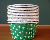 CLEARANCE - Green Paper Portion Cups - SALE - 24 Nut Cups - Paper Cups for Candy Buffets - Christmas Cupcakes Candy Holder