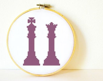 Counted Cross stitch Pattern PDF. Instant download. Chess Silhouette. Includes easy beginner instructions.