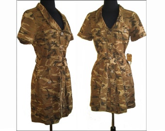 Vintage Mini Dress Camouflage NOS Hourglass Femme Fatale Cocktail Party Wiggle Mad Men Garden Party Rockabilly