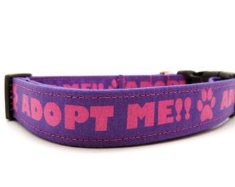 Adopt Me Dog Collar, Rescue Dog Collar, Foster Dog, Purple Dog Collar, Shelter Pet, Pets (M, L, Leash Sizes)