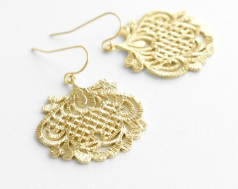 Gold Lace Earrings Gold Earrings Dangle Earrings Bridal Earrings Wedding Earrings Bridesmaid Jewelry Bridesmaid Earrings Gold Filigree