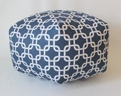 "24"" Ottoman Pouf Floor Pillow Navy Gotcha Chain"