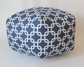 "24"" Ottoman Pouf Floor Pillow Navy Gotcha Chain"