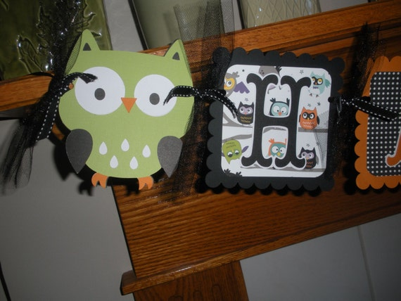 Owl Happy Halloween Birthday Banner or Happy Halloween Banner