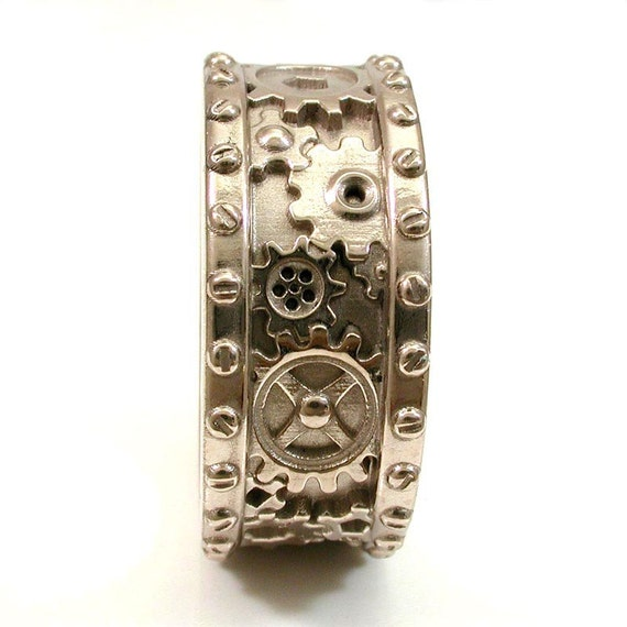 mens 14k palladium white gold gear ring with rivets industrial steampunk - Gear Wedding Ring