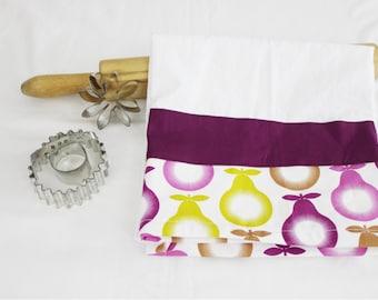 Purple Pears Flour Sack Kitchen Towel with purple stripe