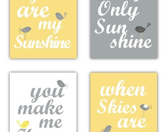 "You are my sunshine Yellow and Gray Art Prints. Playroom, Nursery, or Toddler room Art prints. This listing is for Four(4) 8x10"" prints"