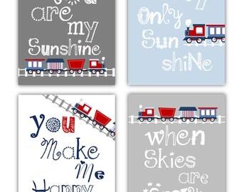 Train Nursery Art for Kids // Train Nursery Decor Art Prints // Blue and Gray Nursery Wall Art // Art for Boys Room // 4-8x10 PRINTS ONLY