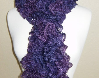 Handmade Knitted Soft Ruffled Lace Boa Scarf Purple With Sparkle