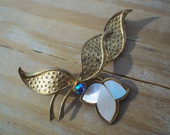 Vintage Gold Tone and Mother of Pearl Brooch Unmarked
