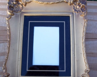 Victorian Fancy Gold Picture Frame with Painted on Glass Mat