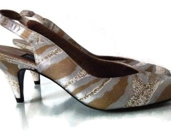 CLEARANCE 9.99 Vintage Pumps, 80s Heels, Stuart Weitzman Gold and Silver Leather Slingback Pumps/Heels, Size 6.5AA