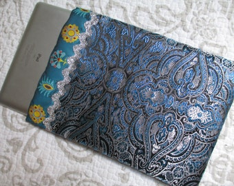 I Pad Case Pocket Aqua Silver Lame Paisley Brocade with Velcro Closure