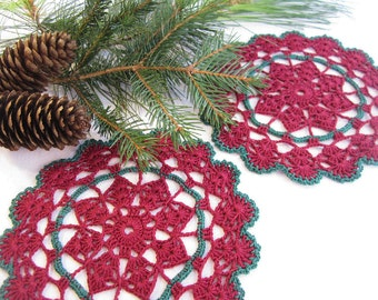 Matching Set of Two 2 Cranberry Red and Forest Green Hand Crocheted Vintage Doilies Christmas