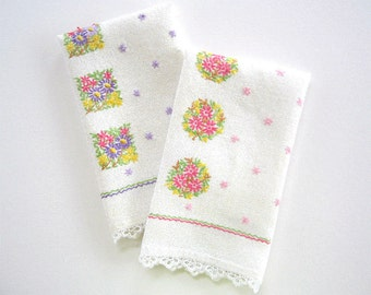 Set of Two 2 Matching Vintage Tea Towels with Hand Embroidery and Tatted Edges, Kitchen Dish Towel Bathroom Hand Towel