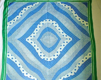 Vintage Silk Scarf with Groovy Blue and White Dots and Stripes