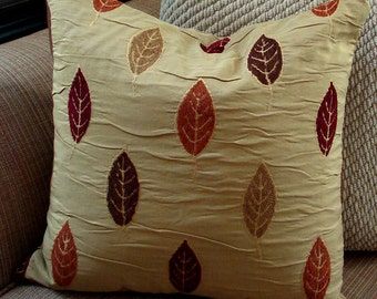 Gold Fall Leaves Pillow Cover