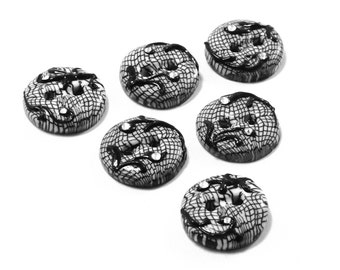 Polymer clay small buttons black & white lace with swarovski haute couture series set of four