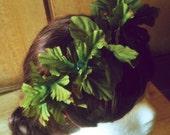 Bridesmaid, Crown, Leaf, Fall, Wedding, Party, Green, Nature, Goddess, Earthy, Greek, Pearl, Natural- Garden of Gaia