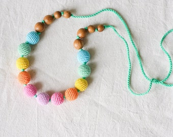 Knotted Aqua Rainbow Nursing Necklace - Oak Wood