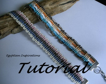 Micro macrame patterns tutorial for two bracelets. Beaded bracelet patterns.