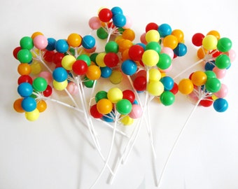 12 Stems-Plastic Colorful Balloons Cake Toppers Part Favors