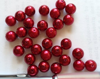 7mm Red glass pearl, Red beads, Etsy supplies, Lilyb444, DESTASH