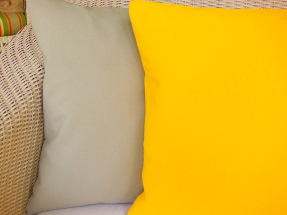 Yellow Gray Solid Decorative Throw Pillow Cushion by SeamsToMe23