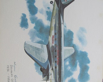 Vintage United Airlines Print Poster - Douglas DC-3 1936 to 1956 - Galloway