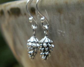 Woodland earrings pinecone earrings fall fashion silver pine cone dangle earrings simple minimalist jewelry