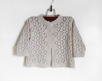 Knitted Baby Cardigan - Light Gray, 1 - 2 years