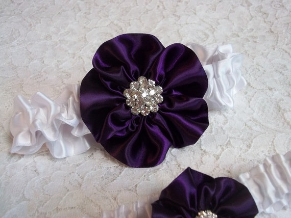Deep Purple Wedding Garter Set Rose In Plum On A White Band