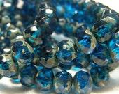 Picasso Czech Glass Beads - Dark Capri Blue - 10 - Faceted Rondell 6x4mm  (bk068)
