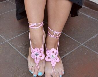 pink crochet Bidal Barefoot Sandals, Bridal Foot Jewelry, Beach Wedding Barefoot Sandals, Barefoot Wedding Sandal, Boho Wedding Shoes