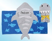 Hooded Beach Towel - Personalized and Embroidered - SHARK