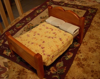 hand-crocheted dollhouse scale afghan/bedspread, speckled yellow chevron stripes 247