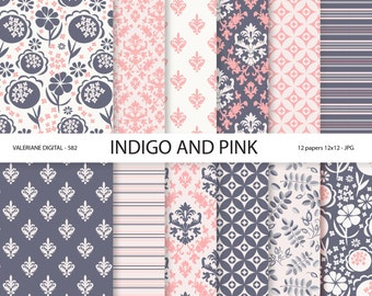 Digital Paper indigo and pink scrapbook papers, floral and damask digital backgrounds,  12 jpg files 12x12 -  Pack 582