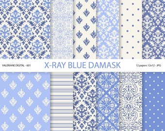 Blue Damask Paper, blue digital paper, Damask digital paper, wedding paper, scrapbook paper, scrapbooking - 601